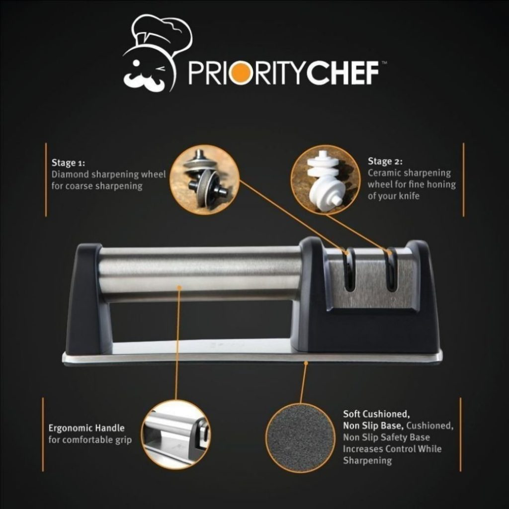 PriorityChef Knife Sharpener for Straight and Serrated Knives 1